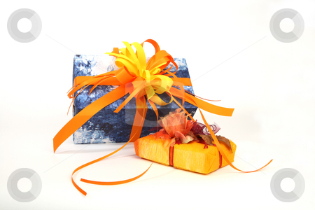 Christmas presents stock photo, Blue and yellow christmas presents on white background by Tom P.