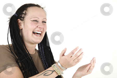 Young woman stock photo, Young woman is laughing by Tom P.