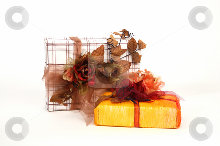 Christmas presents stock photo, Two christmas presents with natural decoration by Tom P.