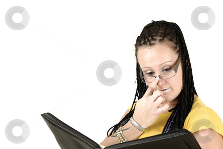 Reading stock photo, Businesswoman reads the statistic by Tom P.