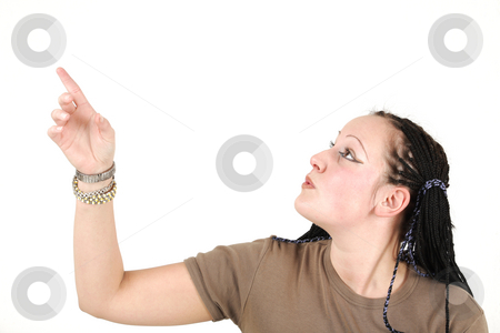 Young woman pointing stock photo, Young woman shows something by Tom P.