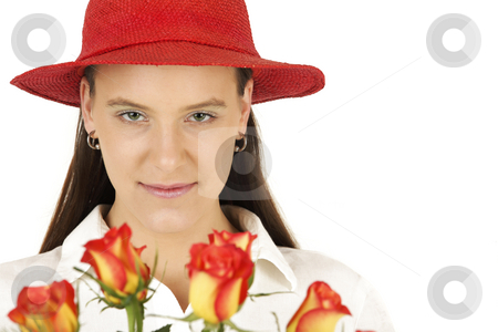 Direct look stock photo, Valentine's girl with roses isolated on white background by Tom P.