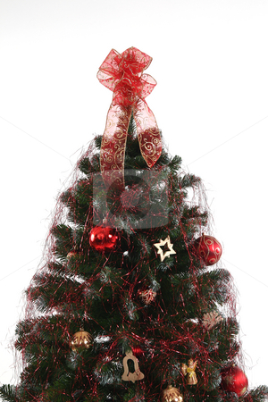 Christmas treen in red stock photo, Decorated christmas tree with red and gold colors by Tom P.