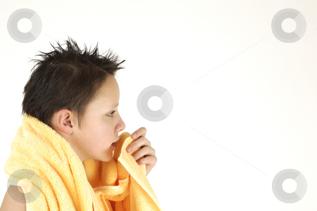 Boy with yellow towel  stock photo, Boy with yellow towel after taking bath by Tom P.