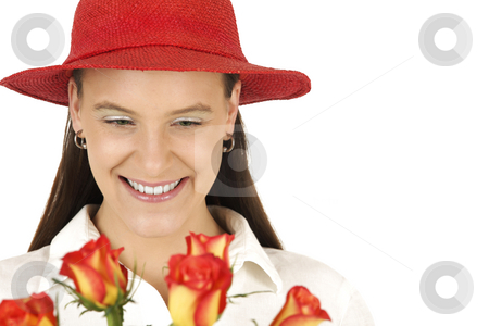 Love stock photo, Young girl smiles after getting Valentine's flowers by Tom P.