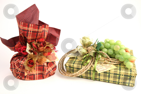 Christmas presents stock photo, Two presents in red and green paper by Tom P.