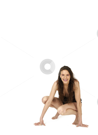 Action  stock photo, Young undressed woman in action isolated on white background by Tom P.