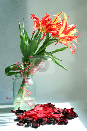 Tulips stock photo, In a vase there is a bouquet of tulips at a window by Aleksandr GAvrilov