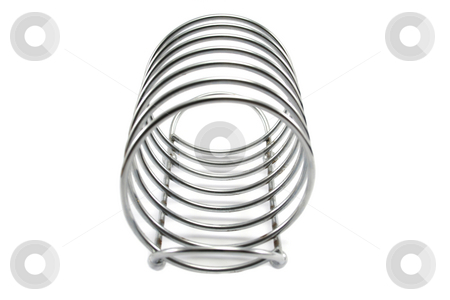 Tpast Rack End On stock photo, Spiral wound stainless steel toast rack by Helen Shorey