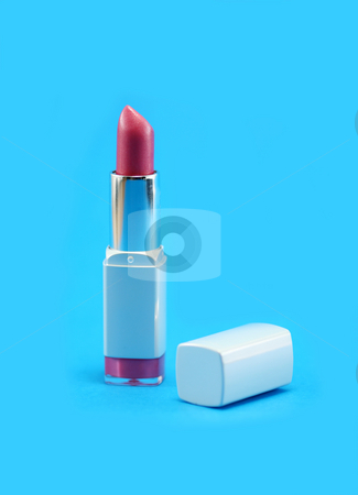 Pink Lipstick stock photo, Pretty pink lipstick on a bright blue background by Helen Shorey