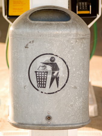 Grey metal rubbish bin with copyspace stock photo, Grey metal rubbish bin with copyspace in urban area by Phillip Dyhr Hobbs