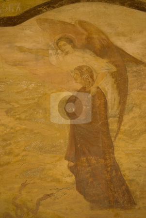Icon paintings in monastery interior stock photo, Iconography painted icons with saints on monastery wall  by Desislava Dimitrova