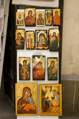 Icons stock photo, Christian icon paintings with saints by Desislava Dimitrova
