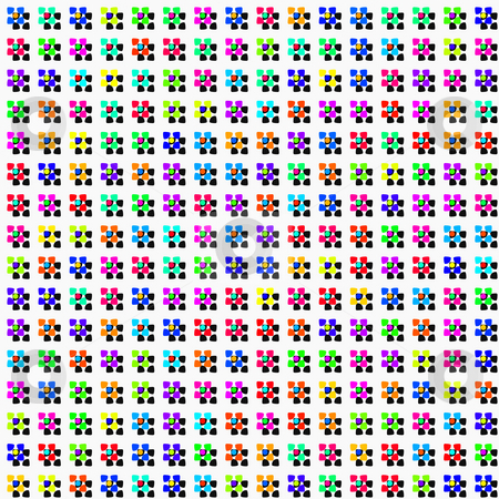 Flowers and shadows pattern stock photo, Seamless texture of colorful abstracted flowers and hard shadows by Wino Evertz