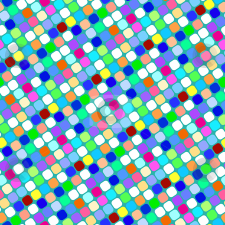 Diagonal squares pattern stock photo, Seamless texture of colorful rounded square dots by Wino Evertz