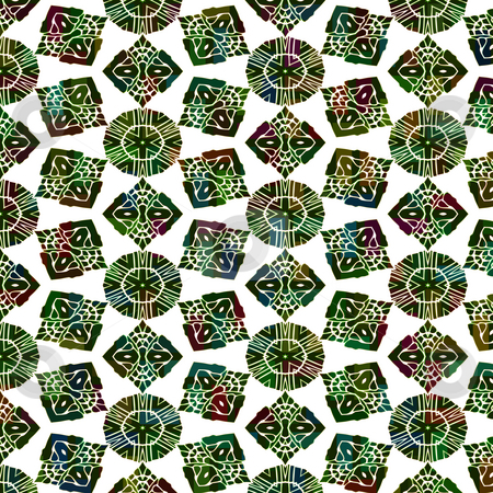 Green native pattern stock photo, Seamless texture of abstracted olive green shapes in tribal style by Wino Evertz