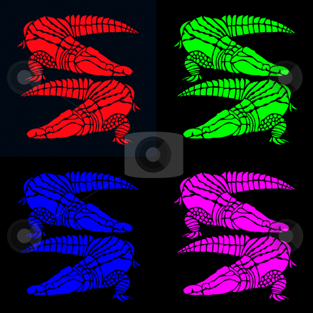 Bright crocodiles on black stock photo, Vibrant pairs of crocodiles in red, green, blue and pink on contrasting black by Wino Evertz