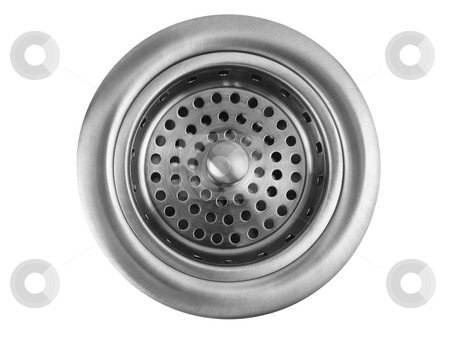 Kitchen Sink Drain stock photo, Stainless steel kitchen sink drain on white background by John Teeter