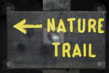 Nature Trail Sign stock photo, Wooden board with Nature Trail sign painted yellow. by Denis Radovanovic