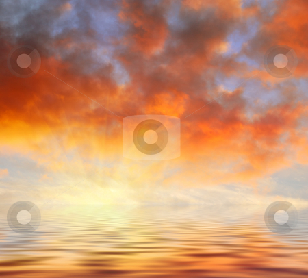 Orange Clouds Sunset Above Water stock photo, Orange clouds sunset reflecting in water. by Denis Radovanovic