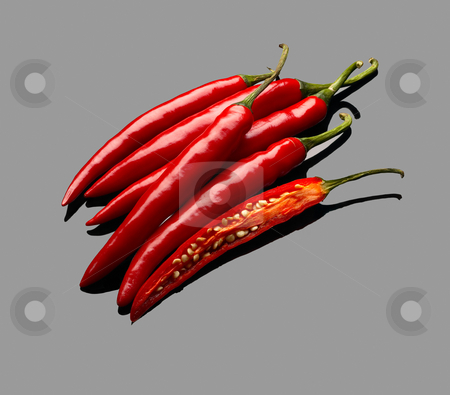 Red chili peppers stock photo, Fresh red chili peppers over grey reflective surface by Francesco Perre