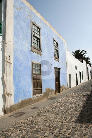 One Blue House stock photo, The only coloured house I saw in the whole of Teguise (Lanzarote) by Helen Shorey