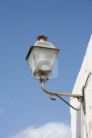 Old Fashioned Street Lamp stock photo, Old fashioned, wall mounted street lamp in Teguise, Lanzarote by Helen Shorey