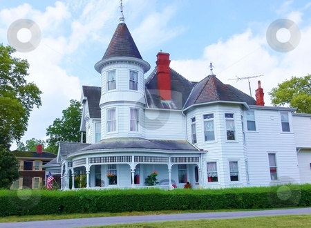 Old white Victorian house  stock photo, A big white Victorian mansion, very well kept, in the south of the USA. by Horst Petzold