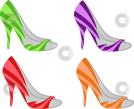Colorful Shoes stock vector clipart, Colorful shoes isolated on white by Julia Shentseva