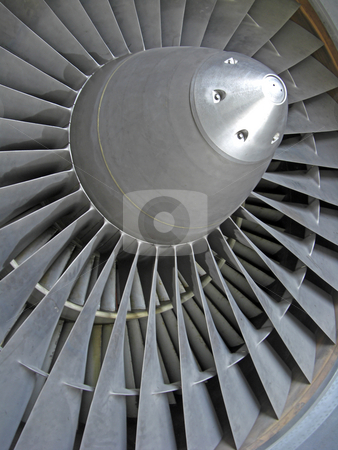 Jet engine. stock photo, Close-up of the blades of a jet engine. by Ian Langley
