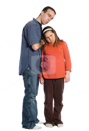Comforting stock photo, Full body view of a father comforting his daughter, isolated against a white background by Richard Nelson
