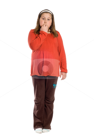 Nervous stock photo, A full body view of a preteen girl biting her nails because of nervousness, isolated against a white background by Richard Nelson