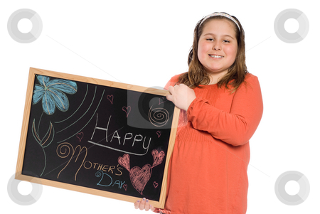 Mothers Day Picture stock photo, A young girl holding up a chalk drawing for mothers day, isolated against a white background by Richard Nelson
