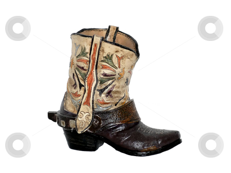 One boot    stock photo, One cowboy boot made from clay from an collection of old shoe and boots. by Horst Petzold