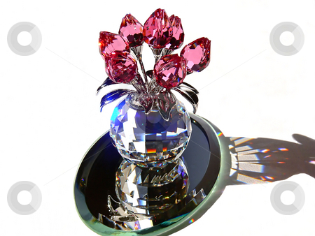 Crystal flower   stock photo, An beautiful crystal ball with red tulips on, in sunshine with the colorful sparkle all around. by Horst Petzold