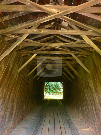 Closed wooden bridge  stock photo, A closed antique wooden bridge over a river in the mountains of Virginia from the inside. by Horst Petzold