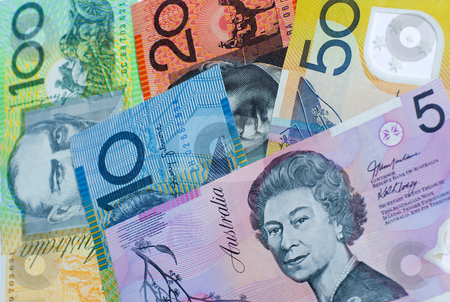Australian bank notes stock photo, Five different denominations of Australian dollar notes by Stephen Gibson