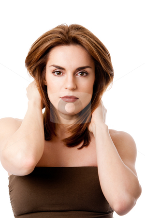 Beautiful female face stock photo, Beautiful brunette face, natural and pure, with hands in her neck, isolated by Paul Hakimata