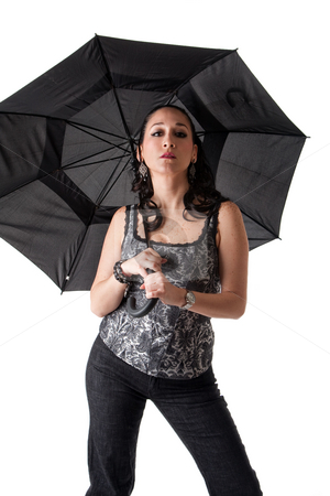 Beautiful woman with umbrella stock photo, Beautiful caucasian woman with umbrella and attitude, isolated by Paul Hakimata