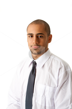 Handsome business man stock photo, Torso of a handsome African Hispanic business man in white shirt and gray tie, isolated by Paul Hakimata