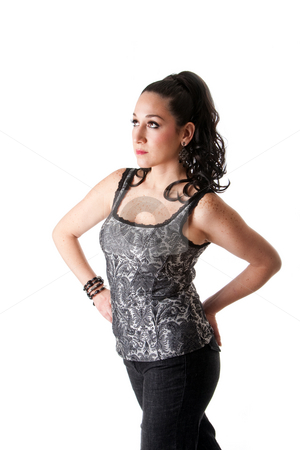 Beautiful female stock photo, Beautiful caucasian female with ponytail wearing gray tank top and jeans and hands on hips, isolated by Paul Hakimata