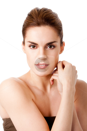 Beautiful female face stock photo, Beautiful brunette face with mole on lip and hands next to head, natural and pure, isolated by Paul Hakimata