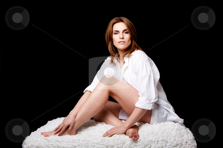 Sexy beautiful female stock photo, Sexy beautiful brunette wearing a white shirt, natural and pure, sitting on a white cloud, isolated by Paul Hakimata