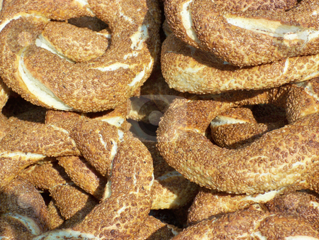 Simit stock photo, Traditional Turkish snack,
