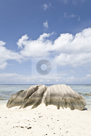 Ancient Rock stock photo, Eroded rock on the beach, La Digue, Republic of Seychelles, Indian Ocean by mdphot