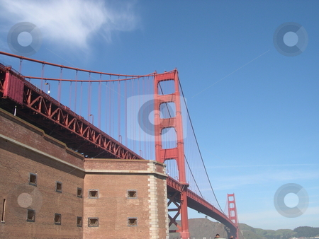 Golden Gate bridge  stock photo, Golden Gate bridge with building in the foreground by Jaime Pharr