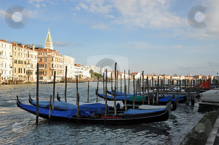 Venice gondolas stock photo, Venice gondolas and canal by Jaime Pharr