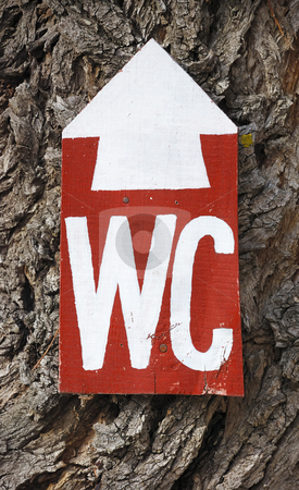 WC sign stock photo, WC sign in a park on a tree trunk. by Ivan Paunovic