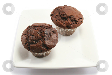 Two Chocolate Muffins on a Plate stock photo, Two delicious chocolate chip muffins on a square china plate by Helen Shorey