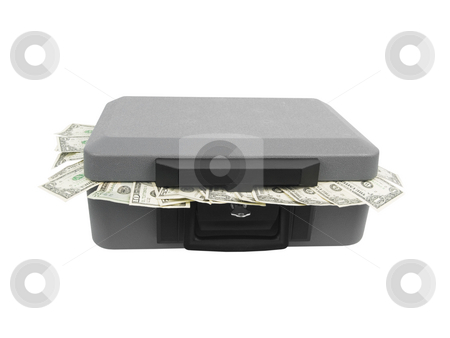 Cash Box stock photo, Cash box with money on a white background by John Teeter